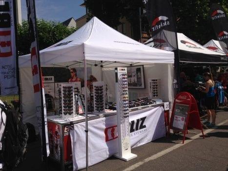 Der Bliz-Stand am Expo-Gelände Ironman Frankfurt 2014